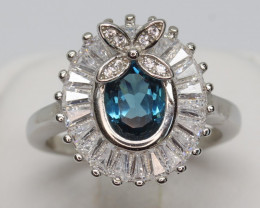 Natural Beautiful Landan Blue Topaz and CZ Ring With A 925 Starling Silver