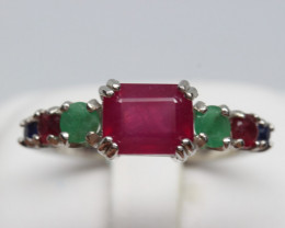 Natural Beautiful RUBY ,Sapphire and Emerald Ring With A 925 Starling Silve