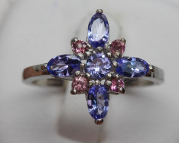 Natural Beautiful Tanzanite and CZ  Ring With A 925 Starling Silver.
