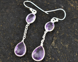 Stunning Genuine Purple Amethyst Earrings In Silver