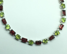 Natural Garnet and Peridot  Bracelet  With A 925 Starling Silver.