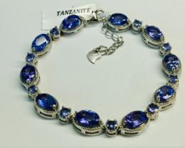 Natural Beautiful   Tanzanite    Bracelet With A 925 Starling Silver.