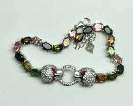 Natural Beautiful    Tormaline and CZ  Bracelet With A 925 Starling Sil