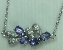 Natural Beautiful  Tanzanite   and CZ Bracelet  With A 925 Starling Silver.