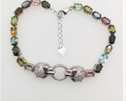 High Quality Natural Tourmaline Bracelet With CZ in Silver 925.