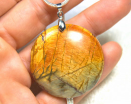 101.5 Carat Round Picasso Jasper Pendant With Chain - Gorgeous