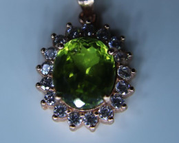 Peridot 3.20ct Rose Gold Finish Solid 925 Sterling Silver Pendant, Natural