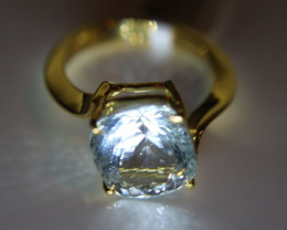 Aquamarine 7.00ct Solid 18K Yellow Gold Solitaire Ring Size 7