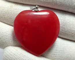 61.30  Carats Natural Red Agate Heart Silver Pendant