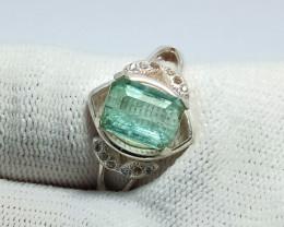 Natural Paraiba Color Tourmaline 925 Sterling Silver Ring