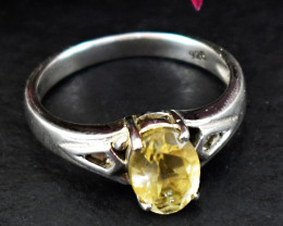 Stunning Genuine Yellow Citrine Ring In Silver