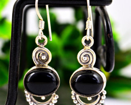 Stunning Genuine Black Spinel Earrings In Silver