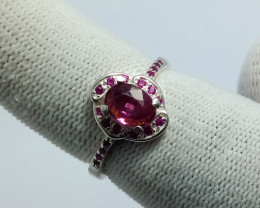 Natural Purple Pinkish Spinel With Small Zircon 925 Sterling Silver Ring