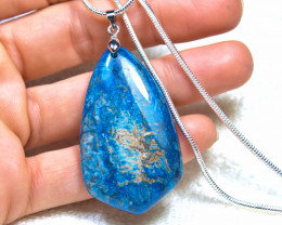97.0 Carat Blue Crazy Lace Agate Pendant, Sterling Silver Chain - Gorgeous