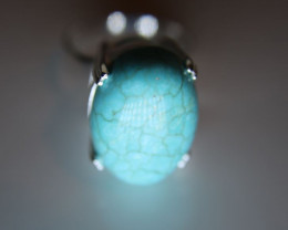 Turquoise 13.66ct  Platinum Finish Solid 925 Sterling Silver Solitaire Ring