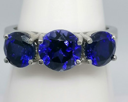 Tanzanite Trilogy Ring 3.20cts. in 14kt. White Gold