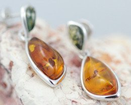 Baltic Amber  Dual Colors  Earrings   ,direct from Poland AM 1610