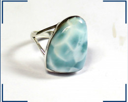 Exquisite Design Natural Sky Blue Larimar .925 Sterling Silver Ring #6 ½