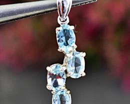 Stunning Genuine Blue Topaz Pendant In Silver