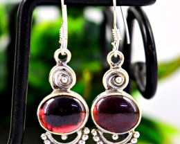 Stunning Genuine Red Garnet Earrings In Silver