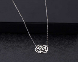 Open Rose In Silver Chain