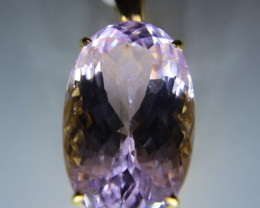 Pink Kunzite 53.15ct Solid 18K Yellow Gold Pendant