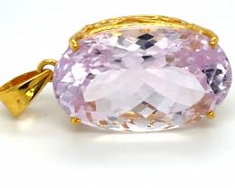 Pink Kunzite 53.15ct Solid 18K Yellow Gold Pendant