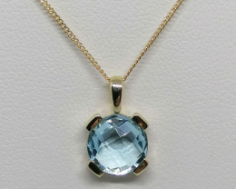 Blue Topaz Solitaire Pendant 1.65ct. in 10kt. Gold