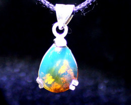 Exquisite Natural Clear Sky Blue Amber .925 Sterling Silver Pendant 1.2""