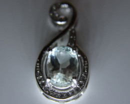 Aquamarine 1.52ct White Gold Finish Solid 925 Sterling Silver Pendant