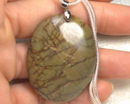 105.5 Carat Natural Picasso Jasper Pendant Necklace - Beautiful