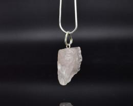 37.75 CT Rose Quartz Natural Gemstone Rough Pendant  K18