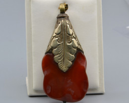 Natural Agate and White Metal Antique Style Pendant