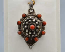 Natural Coral and Silver Antique Style Pendant