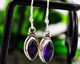 Stunning Genuine Purple Amethyst Earrings In Silver