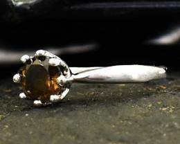 Stunning Genuine Smoky Quartz Ring In Silver