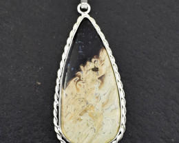 Stunning Genuine Flower Agate Pendant In Silver