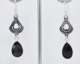 BLACK ONYX EARRINGS 925 STERLING SILVER NATURAL GEMSTONE JE339