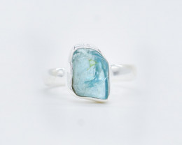 AQUAMARINE RING 925 STERLING SILVER NATURAL GEMSTONE JR334