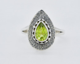 PERIDOT RING 925 STERLING SILVER NATURAL GEMSTONE JR306