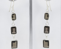 SMOKY QUARTZ EARRINGS 925 STERLING SILVER NATURAL GEMSTONE JE334