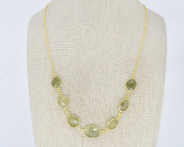 GREEN SAPPHIRE  NECKLACE NATURAL GEM 925 STERLING SILVER JN162