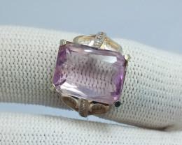Natural Pink Kunzite Cushion  Shape 925 Sterling Silver Ring