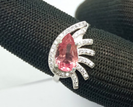 Natural Pink Pear Tourmline 925 Sterling Silver Ring 19.70 Carats