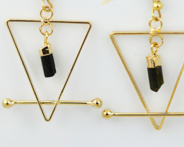 Black Tourmaline  G/P  earth Design earrings  BR  2701
