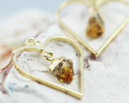 Cute Citrine terminated  Heart earth G/P   Design earrings  BR  2729