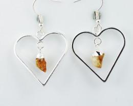 Cute Citrine terminated  Heart earth    Design earrings  BR  2732