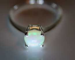 Opal 1.22ct Platinum Finish Solid 925 Sterling Silver Ring    Size 8