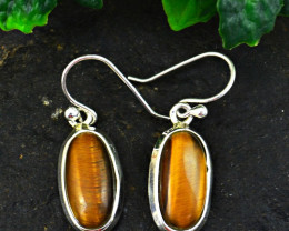 Stunning Genuine Golden Tiger Eye Earrings In Silver