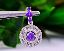 Stunning Genuine Purple Amethyst Pendant In Silver